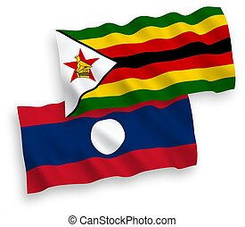 Flags of Zimbabwe and Laos on a white background - National ...