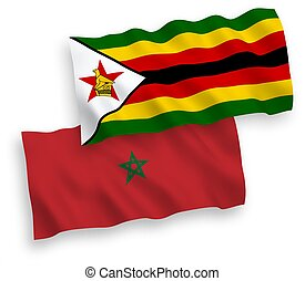 Flags of Zimbabwe and Morocco on a white background - ...
