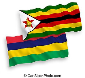 Flags of Zimbabwe and Republic of Mauritius on a white ...