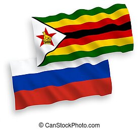 Flags of Zimbabwe and Russia on a white background - ...