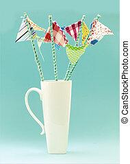 Flags on a Turquiose Retro - White Mug With Handmade...