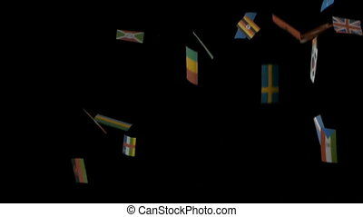flags on black background - flying international flags of...