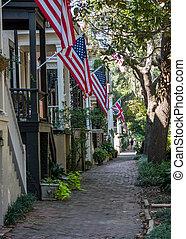 Flags on Jones Street in Savannah