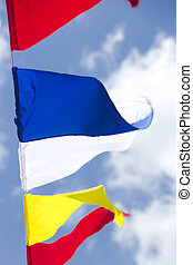Flags on sky background