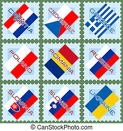 Flags on stamps