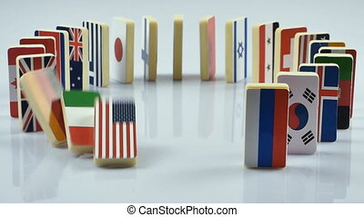 flags on white surface - The domino effect with tile of...