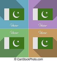 Flags Pakistan. Set of colors flat design and long shadows. Vector