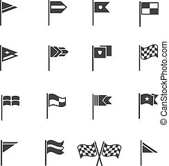 Flags pictograms. Vector start and finish flag icons