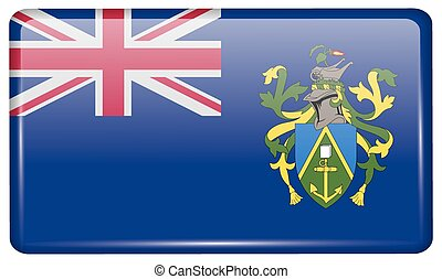 Flags Pitcairn Islands in the form of a magnet on refrigerator with reflections light. Vector