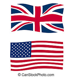 Rippled union jack flags of the UK and USA