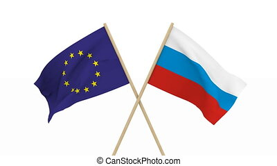 flags Russia and EU. Isolated 3D render