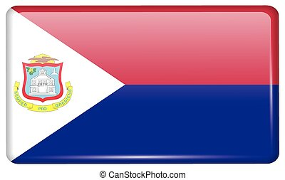 Flags Saint Martin in the form of a magnet on refrigerator with reflections light. Vector