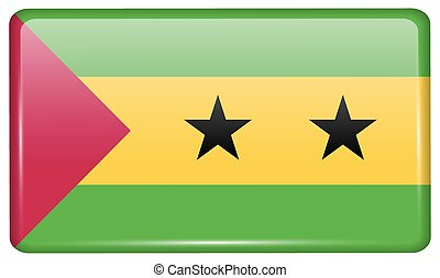 Flags Sao Tome Principe in the form of a magnet on...