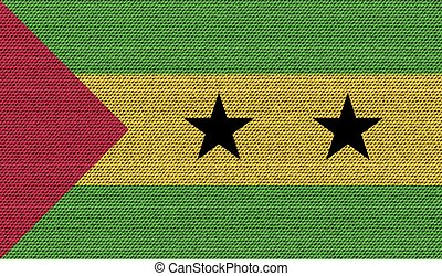 Flags Sao Tome Principe on denim texture. Vector - Flags of...