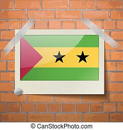 Flags Sao Tome Principe scotch taped to a red brick wall -...