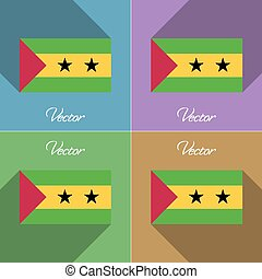 Flags Sao Tome Principe. Set of colors flat design and long...