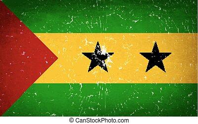 Flags Sao Tome Principe with broken glass texture. Vector -...