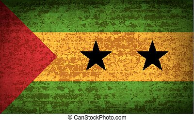 Flags Sao Tome Principe with dirty paper texture. Vector -...