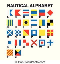 flags., segnale, set, marittimo