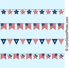 Flags Set American Bunting Independence Day 4th of July