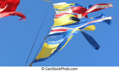 Flags sky wind fabric nation - Flags sky wind fabric and...