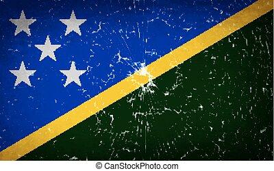 Flags Solomon Islands with broken glass texture. Vector