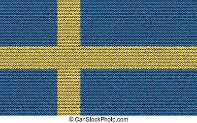 Flags Sweden on denim texture. Vector