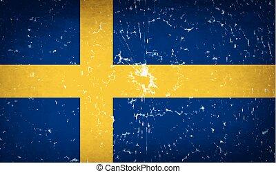 Flags Sweden with broken glass texture. Vector