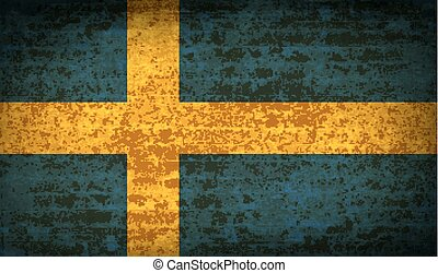 Flags Sweden with dirty paper texture. Vector