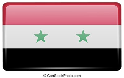 Flags Syria in the form of a magnet on refrigerator with reflections light. Vector