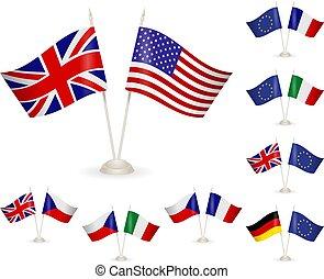 flags., -, tavola, set, stare in piedi