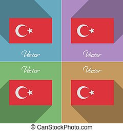 Flags Turkey. Set of colors flat design and long shadows. Vector