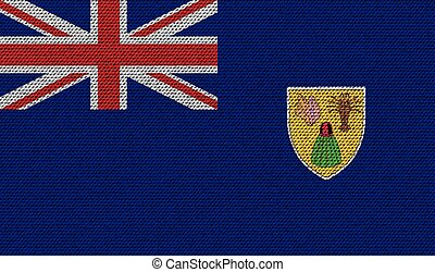 Flags Turks and Caicos on denim texture. Vector - Flags of...