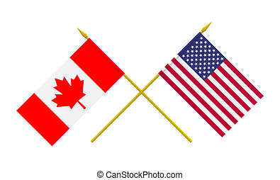 Flags of USA and Canada, 3d render, isolated on white