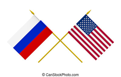 Flags, USA and Russia