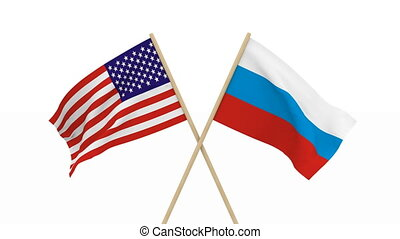 flags USA and Russia. Isolated 3D render