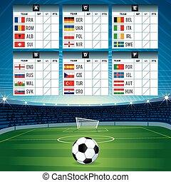 flags., vecteur, conception, présentez football, euro