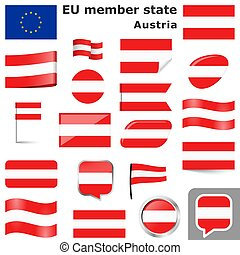 collection of flags and buttons with national country colors of Austria