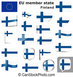 collection of flags and buttons with national country colors of Finland