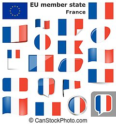 collection of flags and buttons with national country colors of France