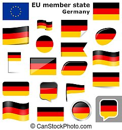 collection of flags and buttons with national country colors of Germany