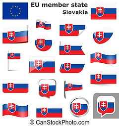 flags with country colors of Slovakia