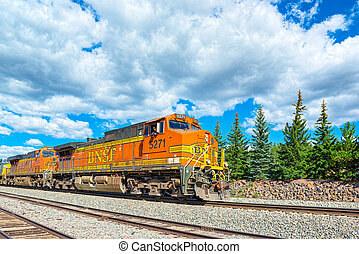 Freight train BNSF Railway Companies on a sunny day in ...