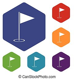 Flagstick hexagon icon set
