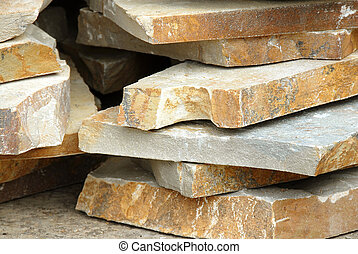 building materials, natural flagstones on stack outdoor