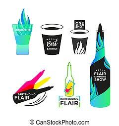 Flair bartending icon or logo design. Best barmen emblem....