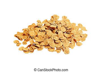 flakes, corn, isolated, white, yellow, object, crimp, crisp, background, crispy.