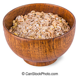 flakes in a bowl on white background, food closeup.