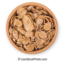 flakes in a bowl on white background, food closeup