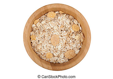 Flakes in wooden bowl